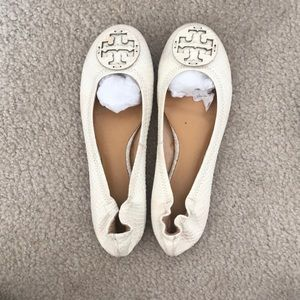Tory Burch White Leather Embossed Reva Flats